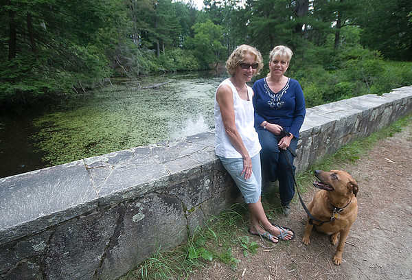 newburyport: Marlys Edwards and Kim Hackett along with Virginia on the 3 arch bridge at Maudslay State Park near the Flowering Pond that they are hoping to restore. Jim Vaiknoras/staff photo