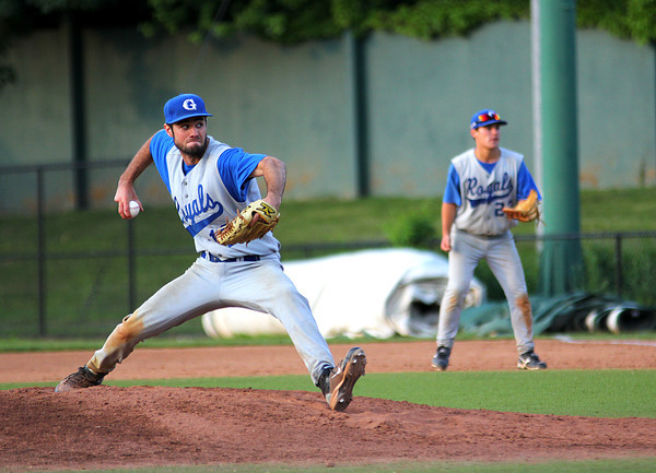 Lynn: Georgetown's Ryan Browner (12) took the mound in Wednesday night's state championship game against Cohasset at Fraser Field in Lynn. Photo by Ben Laing/Staff Photo