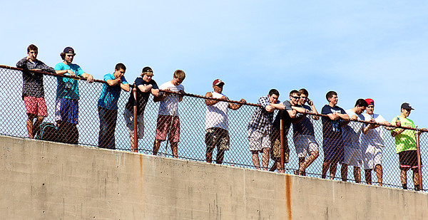 Newburyport: Newburyport fans line the top of the stadium as they watch the Clippers baseball team take on visiting Austin Prep in Monday's state tournament game. Photo by Ben Laing/Staff Photo