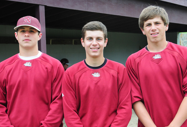 Newburyport: Newburyport High baseball player, from left, Connor Wile, Colby Morris and Colton Fontaine. Bryan Eaton/Staff Photo