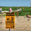 Newburyport: A section of beach and sand dunes at Plum Island Point have been closed due to the hatching of piping plover chicks. People in photograph are outside the perimeter. Bryan Eaton/Staff Photo