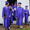 Amesbury: Sparhawk School graduates leave the historic Rocky Hill Meethinghouse yesterday afternoon after ceremonies there. Several of the graduates addressed those in attendance and several teachers made short speeches about each of the graduates and their attributes. Bryan Eaton/Staff Photo