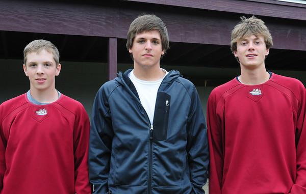 Newburyport: Newburyport High baseball player, from left, Pete Furlong, Stephen Singer and Ben Greene. Bryan Eaton/Staff Photo