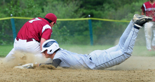Byfield: Face in the dirt, Triton's Cameron D'Agostino makes it safe to second past Gloucester's Caulin Rogers on an overthrown ball to first base. Bryan Eaton/Staff Photo
