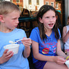 Newburyport: Cooling off in the shade with some ice cream from Gram's on State Street in Newburyport are siblings, from left, Jack Fehlner, 7, Abigail, 9, and Claire, 5, of Newburport. Bryan Eaton/Staff Photo
