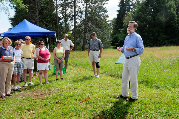 Newbury: Ed Becker, executive director of Essex County Greenbelt, speaks at the opening of their newly acquired Hans Morris Reservation on Middle Road in Newbury during a ceremony yesterday afternoon. Bryan Eaton/Staff Photo