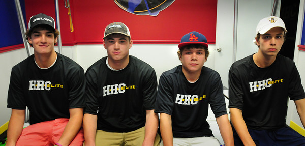 Newburyport: Four local hockey players from Newburyport were selected by USA hockey to participate in the National Development Camp. From left, Camden Armstrong, Shane Eiserman, Zach Mirages and Josh Couturier. Bryan Eaton/Staff Photo