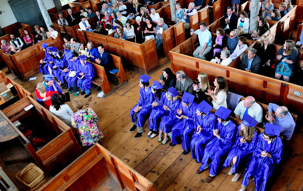 Amesbury: Parents, family, friends and graduating seniors themselves applaud as they recieve their diplomas from the Sparhawk School in Amesbury yesterday afternoon. There were 16 in the graduating class from the school which was founded in 1994. Bryan  Eaton/Staff Photo