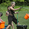 "Amesbury: Amesbury Elementary School teacher Suzanne Morin has as much fun as her students as they held an end of year ""Water Day"" on Tuesday. Bryan Eaton/Staff Photo"