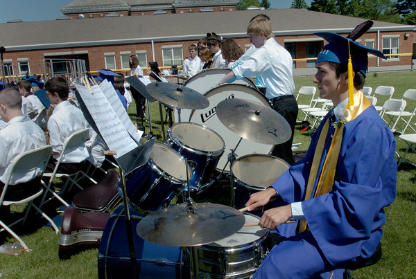 Georgetown: Several Georgetown High graduating seniors joined their bandmates for the last time to play a musical selection from Pirates of the Carribean. Bryan Eaton/Staff Photo