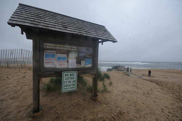Newbury: The Welcome sign at Plum Island Beach which had been removed due to erosion and beach repair has been put back. Jim Vaiknoras/Staff photo