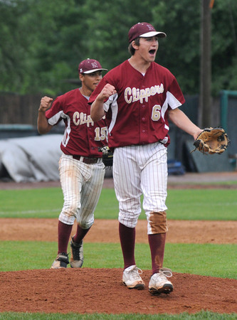 lowell: The Newburyport's Brett Fontaine and Drew Carter react at the end of the Clippers  3-1 victory over St Mary's  in the Division 3 North Sectional Championship game at LeLacheur Park in Lowell Saturday. Jim Vaiknoras/Staff photo