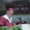 newburyport: Newburyport high Valedictorian Samual Robert Moore gives his address at Sunday's Graduation Ceremonies at War Memorial Stadium. Jim Vaiknoras/Staff photo