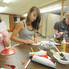 "Amesbury: Linda Bullis, 6, Caroline Conte, 13, and Zanthia Dwight, 14,work of ""Heavenly Faces""  at a workshop by Amesbury artist Gay Cox  at All Saints' Anglican Church. Jim Vaiknoras/Staff photo"