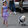 Salisbury: Tatum Bernard walks Sparkles in the Dog Parade at the Sand and Sea Festival at Salisbury Beach Sunday morning. Jim Vaiknoras/ staff photo