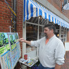 newburyport: Artist David Magdelenski paint in front of Valerie's  Gallery on State Street in Newburyport Saturday as part of the Art Walk. Jim Vaiknoras/Staff photo