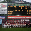 lowell: The Newburyport high baseball team poses in front of the score board after defeating St Mary's 3-1 in the Division 3 North sectional Championship game at LeLacheur Park in Lowell Saturday