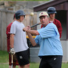 Newburyport: Newburyport High baseball coach Bill Pettingell hits grounders to his team at his last practice before Saturday State Championship Game. Jim Vaiknoras/Staff photo