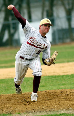 Newburyport: Newburyport's Brendan Russell struck out 12 batters and only allowed two hits in the Clippers 8-1 win over Pentucket at Newburyport yesterday.<br /> Photo by Katie McMahon/Newburyport Daily News. Tuesday, April 11, 2006