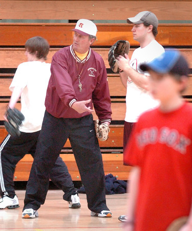 Newburyport: <br /> Bill Pettingell at his baseball camp at Nock Middle School.<br /> Photo by Bryan Eaton/Newburyport Daily News. Wednesday, March 15, 2006