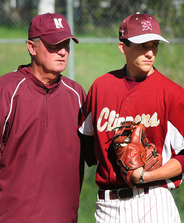 Newburyport: Newburyport coach Bill Pettingell puts in pitcher Ryan Clark into the game against North Andover in the top of the fifth inning. Bryan Eaton/Staff Photo