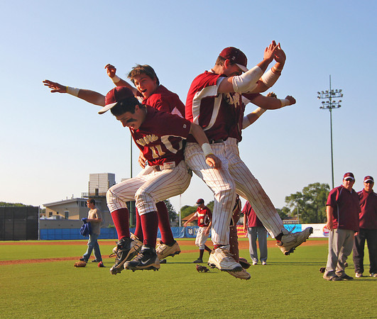 Lynn: Members of the Newburyport Clippers perform their ritual celebration after defeating Apponeuet 4-1 Wednesday afternoon at Fraser Field in Lynn. With the win the Clippers advance to the State final game on Saturday. Photo by Ben Laing/Staff Photo