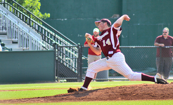 Lynn: Newburyport ace Ryan O'Connor (14) delivers a pitch during his complete game shut out of Bishop Fenwick Wednesday afternoon at Fraser Field in Lynn. Photo by Ben Laing/Staff Photo