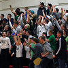 Amesbury: The Pentucket faithful celebrate as their boys basketball team closes out Arlington Catholic in a nail bitter at Amesbury High School Tuesday night. The Sachems advance to the next round of the state tournament with a 55-53 win. Photo by Ben Laing/Staff Photo