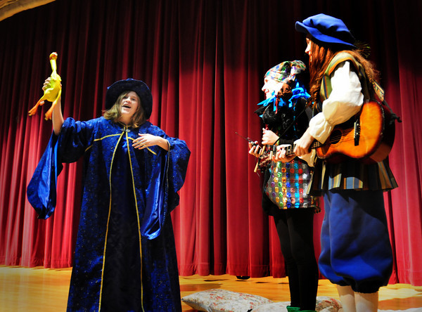 """Amesbury: Rehearsing for the Amesbury Middle School Drama Club's """"Once Upon a Mattress"""" are,  from left, Amy Snyder, Mara Einson and Holly Gilday. The  performences will be Thursday, March 31, at 6 p.m. and Friday and Saturday, April 1 and 2, at 7 p.m. in the Amesbury Middle School Performance Center. Tickets are $3 for students, $5 for adults, and will be sold at the door. Bryan Eaton/Staff Photo"""