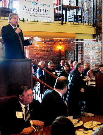 Amesbury: Congressman John Tierney, pictured, along with State Rep. Michael Costello and State Senator Steven Baddour spoke at a Legislative Luncheon sponsored by the Amesbury Chamber of Commerce and Industry at the Alehouse yesterday morning. Bryan Eaton/Staff Photo