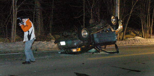 Amesbury: Ice appears to have been a factor in a two-car accident around 6:00p.m. on South Hampton Road in Amesbury last night near the entrance to Battis Farm where the community gardens are located. Bryan Eaton/Staff Photo