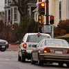 """Newburyport: Vehicles, right, on State Street wait to turn right onto High Street in Newburyport. The sign posted says """"no turn on red"""" but there is no official traffic rule to back up the sign which people sometimes ignore. Bryan Eaton/Staff Photo"""