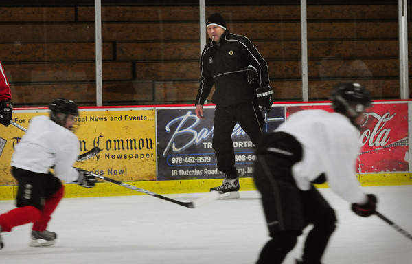 Newburyport: Former Bruins Tommy Songin, pictured, and Kenny Linsman were at the Warrior Clinic Series, hosted by the Boston Bruins and Warrior Hockey at the Graf Rink last night. Bryan Eaton/Staff Photo