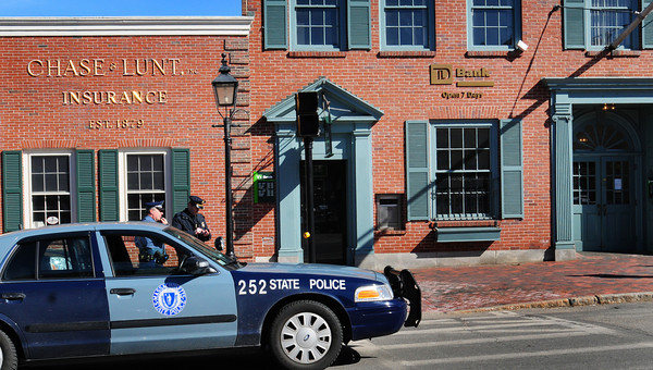 Newburyport: The TD Bank on State Street in downtown Newburyport was robbed early yesterday afternoon. Police were looking for a male suspect who fled on foot. Bryan Eaton/Bryan Eaton