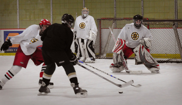 Newburyport: Several former Boston Bruins players helped out at the Warrior Clinic Series, hosted by the Boston Bruins and Warrior Hockey last night at the Graf Rink. Bryan Eaton/Staff Photo