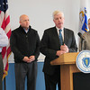 Salisbury: Rick Sullivan, Secretary of Energy and Environmental Affairs, talks about progress of cleaning the sewages disks released from the wastewater plant in Hooksett, NH, flanked by, from left, Dick Chelpin of Mass. DEP; state Rep. Michael Costello and Ed Lamber of the Department of Conservation and Recreation. Bryan Eaton/Staff Photo