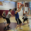 Newburyport: The Newburyport High boys basketball team practices for their game at the Tsongas Arena. Bryan Eaton/Staff Photo