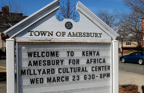 Amesbury: Community announcement sign in the town parking lot. Bryan Eaton/Staff Photo