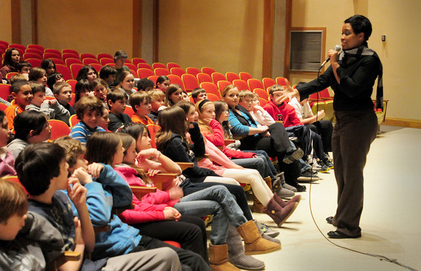 Newburyport: Amber Smith speaks to Molin School students about Rachel's Challenge. Bryan Eaton/Staff Photo