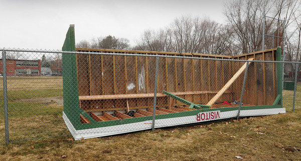 Salisbury: The visitor's dugout in the baseball field behind Salisbury Elementary School has been upended. Bryan Eaton/Staff Photo
