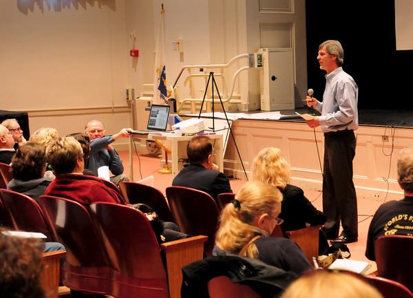 Newburyport: Newburyport school committee member Dan Keon speaks at the Mayor's Forum on Saturday at the high school. Bryan Eaton/Staff Photo