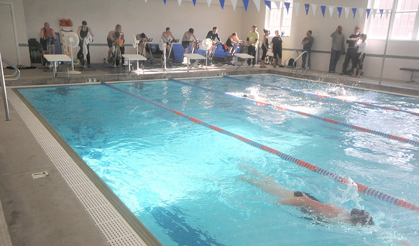 Newburyport: Swimmers and bikers compete in the 2nd Annual Indoor Triathlon at the YWCA in Newburyport Sunday morning.The event consisted of a 10 min swim , a 25 mins on a stationary =bike and a 1.5 mile run on the rail trail. Jim Vaiknoras/Staff photo