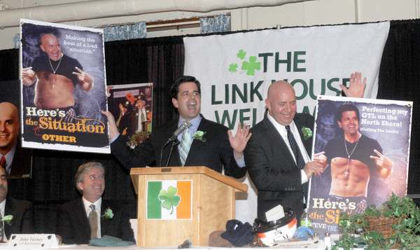 Newburyport: State Senator Steve Baddour and Representative Michael Costello make fun of each other and the Situation at the 9th St Patrick's Day Luncheon at the Masonic Temple in Newburyport. JIm Vaiknoras/Staff photo