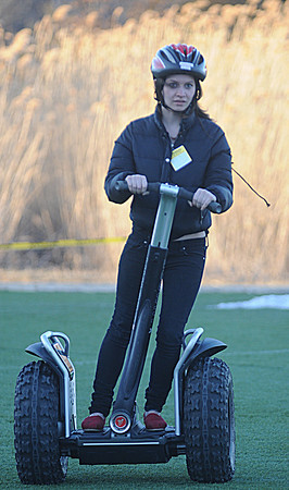 Amesbury: Hannah Russell-Goodson takes a ride on a Segway Extreme Adventure Expo at the Amesbury Sports Park Friday night. Jim Vaiknoras/Staff photo
