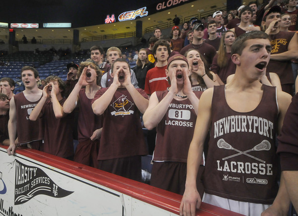 """lowell: Newburyport fans shout """"Yeat"""" during team introduction at the North Sectional Championship at the Tsongas Center in Lowell Saturday night aqainst Watertown. Despite the support the Clipper were defeated 55-31. Jim Vaiknoras/Staff photo"""