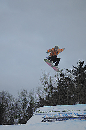 Amesbury: Justine Healey catches some air at the Third annual Big Air Competition at Amesbury Sports Park Saturday . Jim Vaiknoras/Staff photo
