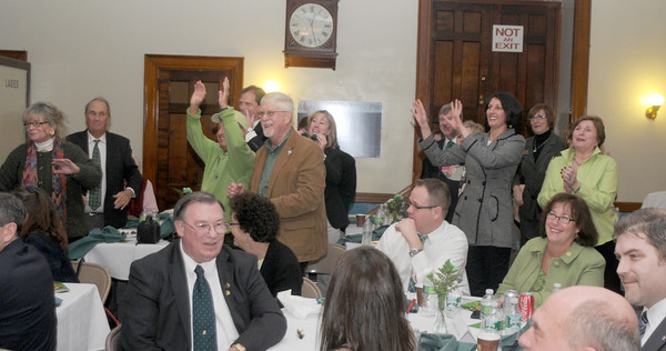 Newburyport: The Rotary Club joins in the singing at the 9th St Patrick's Day Luncheon at the Masonic Temple in Newburyport. JIm Vaiknoras/Staff photo