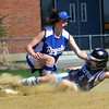 Byfield: Triton's Jennifer Delaney (5) slides safely into second base after a Georgetown's Shannon O'Brien (4) can't reel in the throw. The Vikings hosted the Royals in Byfield Monday afternoon. Photo by Ben Laing/Staff Photo