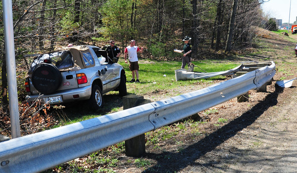 Seabrook: A Maine man was ejected from this vehicle at the off-ramp on Interstate 95 northbound at Route 107 in Seabrook yesterday morning. He was taken to Anna Jaques Hospital in Newburyport. Bryan Eaton/Staff Photo