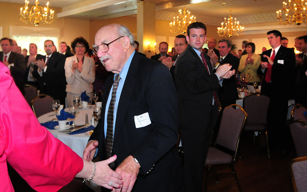 Georgetown: Former Daily News editor Bill Plante is applauded as he is named the recipient of this year's Edward Molin Community Leadership Award at the Greater Newburyport Chamber of Commerce and Industry Annual Luncheon. Bryan Eaton/Staff Photo